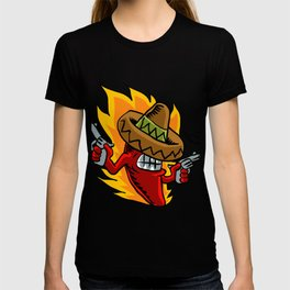 Mexican red chili pepper with guns. T-shirt