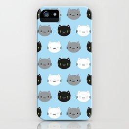 Cute Cats & Kawaii Kittens (Blue) iPhone Case