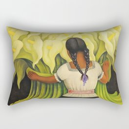 The Cuauhnāhuac Calla Lily Vendor by Diego Rivera Rectangular Pillow