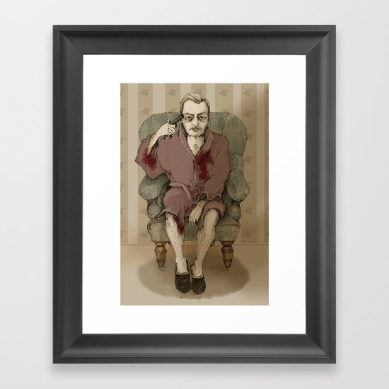 In bathrobe Framed Art Print