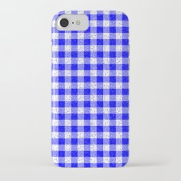 Gingham Blue and White Pattern iPhone Case