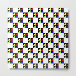 Little Triangles Squared Red Blue Yellow Green Black on White Metal Print
