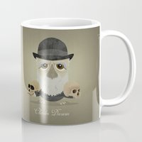 darwin Mugs featuring Charles Darwin - Greater-spotted British Scientist - as an owl. by Scott Tyrrell