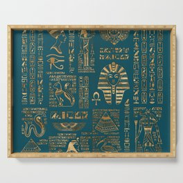 Egyptian hieroglyphs and deities - Gold on teal Serving Tray