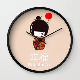 Geisha Girl Happiness Kawaii Wall Clock