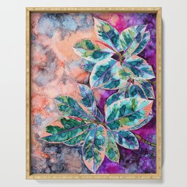 Rubber Tree - Alcohol Ink Serving Tray