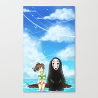 spirited away Canvas Prints featuring Spirited Away by Joana Bee