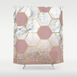 Cherished aspirations rose gold marble Shower Curtain