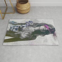 To The Marrow: Purple (faceless nude woman with lilies tattoos) Rug