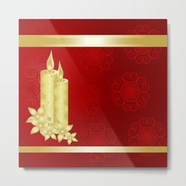 Elegant gold candles on rich red background Metal Print