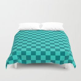 Teal and Turquoise Checkerboard Duvet Cover