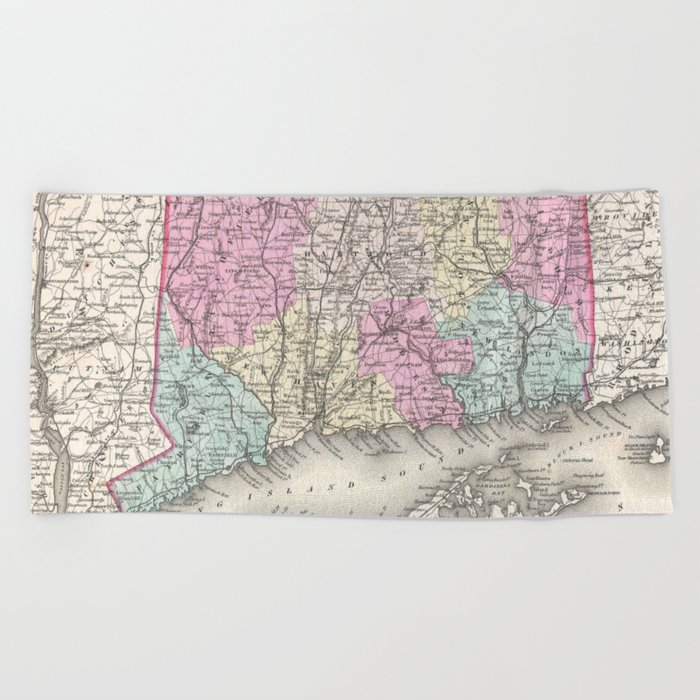 Vintage Map of Connecticut (1857) Beach Towel by bravuramedia
