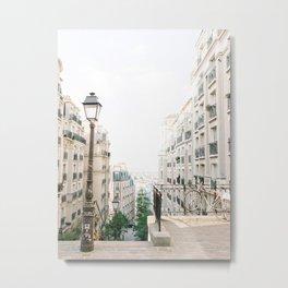 Parisian buildings in Montmartre, Paris, France   Montmartre staircase in Paris, France   Fine Art Travel Photography Metal Print