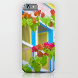 Colored Flowers in Front of Windows House iPhone Case