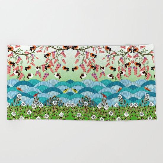 beautiful river Beach Towel