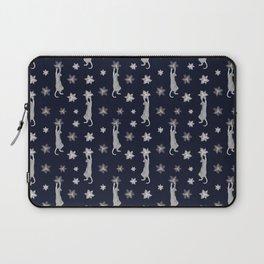 Cats Climbing Flowers Navy Blue Laptop Sleeve