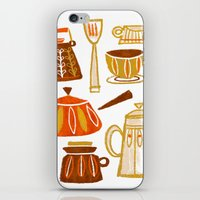 mid century iPhone & iPod Skins featuring Mid Century Modern Kitchen by Van Huynh