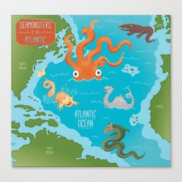 Seamonsters of the Atlantic Ocean Map Canvas Print