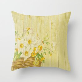 Daffodil Flowers in Basket on Wood Background Throw Pillow
