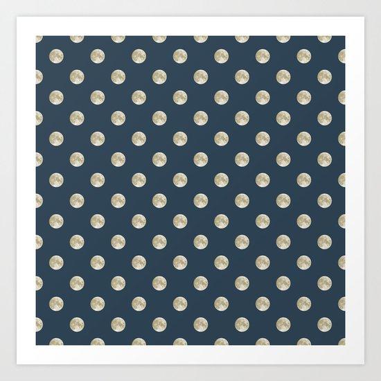 Full Moon Polka Dot Art Print