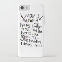 toddler iPhone & iPod Cases featuring Sorry for my toddler years by Tonya Doughty