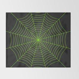 Neon green spider web Throw Blanket