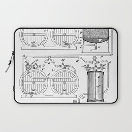 Brewery Patent - Beer Art - Black And White Laptop Sleeve