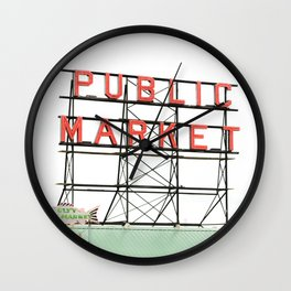 Public Market Seattle Pike Street Fish Neon Sign Northwest Washington Wall Clock