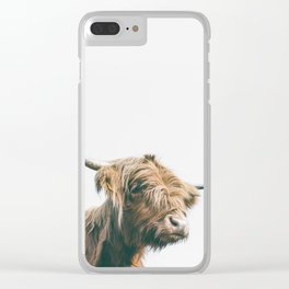 Majestic Highland cow portrait Clear iPhone Case