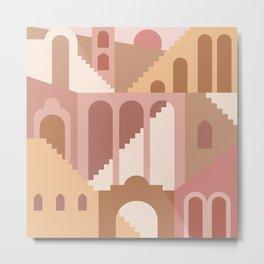Mid Century Modern Minimalist Ancient Ruins Vases Terracotta Pastel Hues Architecture Metal Print