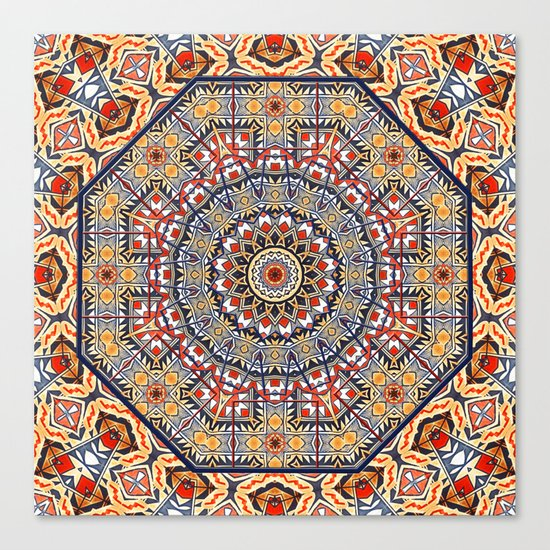 Pottery Tile Kaleidoscope Canvas Print