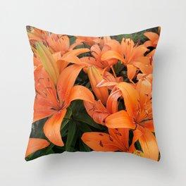 Orange Lillies Throw Pillow