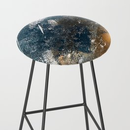 Wander [4]: a vibrant, colorful, abstract in blues, white, and gold Bar Stool