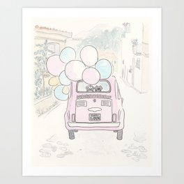 Pink Vintage Car with Balloons in Countryside and Fluffballs Art Print