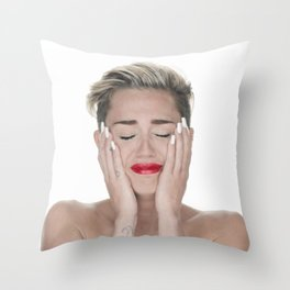 Crying Miley Cyrus Throw Pillow
