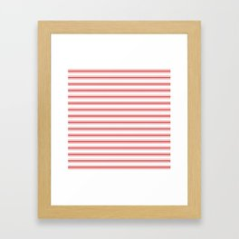 Mattress Ticking Wide Horizontal Striped Pattern in Red and White Framed Art Print