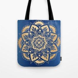 Blue and Gold Flower Mandala Tote Bag
