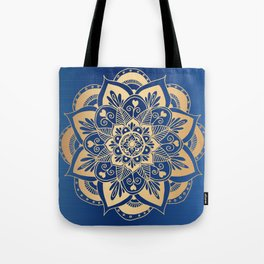 Blue and Gold Flower Mandala Tote Bag