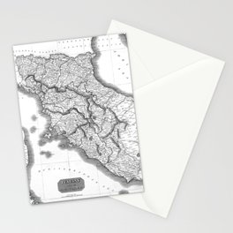 Vintage Map of Tuscany Italy (1814) BW Stationery Cards