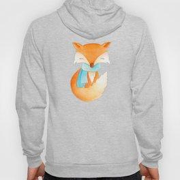 Cute fox cub whimsical winter watercolor art  Hoody