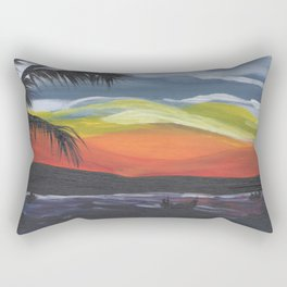 Island Life, Palm Trees, Sunsets and Fishermen Rectangular Pillow