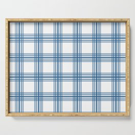 Farmhouse Plaid in Blue on White Serving Tray