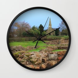 English Village Church overlooking Roman Excavations Wall Clock