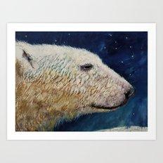 Polar Bear Stars Art Print
