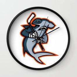 Hammerhead Ice Hockey Player Mascot Wall Clock