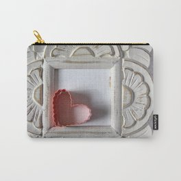 White Frame with pink heart Carry-All Pouch