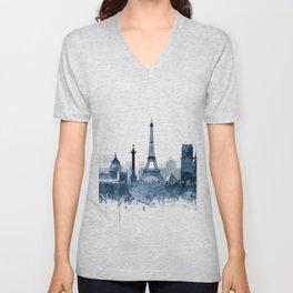 Paris City Skyline Watercolor Blue by zouzounioart Unisex V-Neck