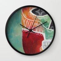 calavera Wall Clocks featuring Calavera 1 by Santiago Uceda