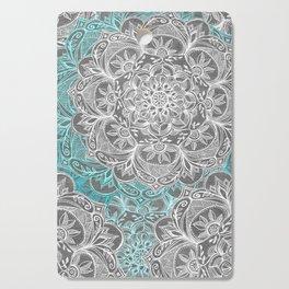 Turquoise & White Mandalas on Grey Cutting Board