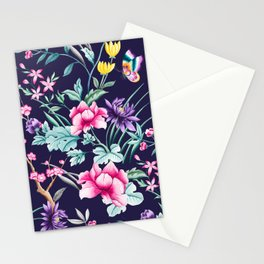 Chinoiserie french navy floral Stationery Cards